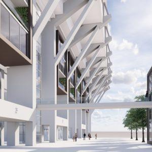 Das Foto zeigt eine Animation der Pläne für das Kaiserkarree rund um das Kaiserslauterer Fritz-Walter-Stadion. (Quelle: Drees und Sommer.)