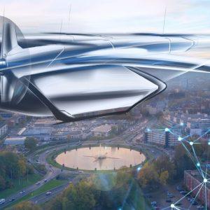 Mobilität der Zukunft: Die Animation zeigt Flugtaxis in Aachen (Quelle: Stadt Aachen/Braunwagner GmbH).