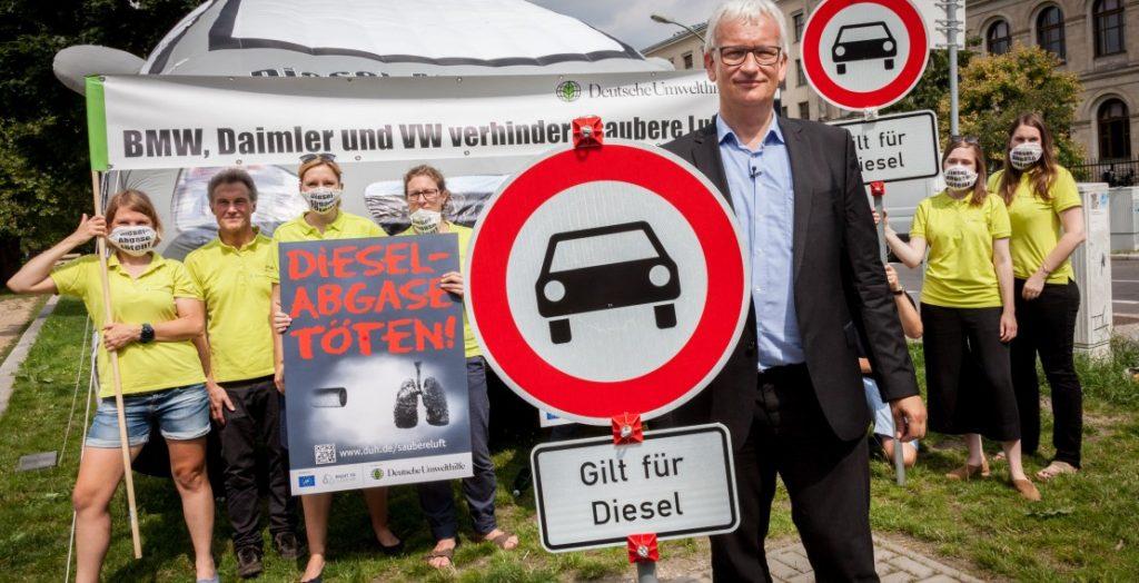 Protestaktion der Deutschen Umwelthilfe 2017 in Berlin für eine bessere Luftqualität (Quelle: Deutsche Umwelthilfe/Robert Lehmann)