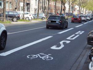 Von ihr zeichnen sich positive Effekte auf die Luftreinheit ab: eine Umweltspur in Düsseldorf (Quelle: Landeshauptstadt Düsseldorf/Amt für Kommunikation)