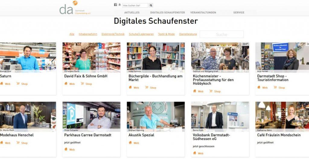 """Die Stadt Darmstadt schafft ihrem Einzelhandel und ihrer Gastronomie in der Coronakrise ein """"Digitales Schaufenster"""". (Quelle: Darmstadt Marketing GmbH)"""