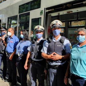 Kontrolle der Maskenpflicht in Mannheim mit Polizei, Stadt und Verkehrsunternehmen (Quelle: Stadt Mannheim)