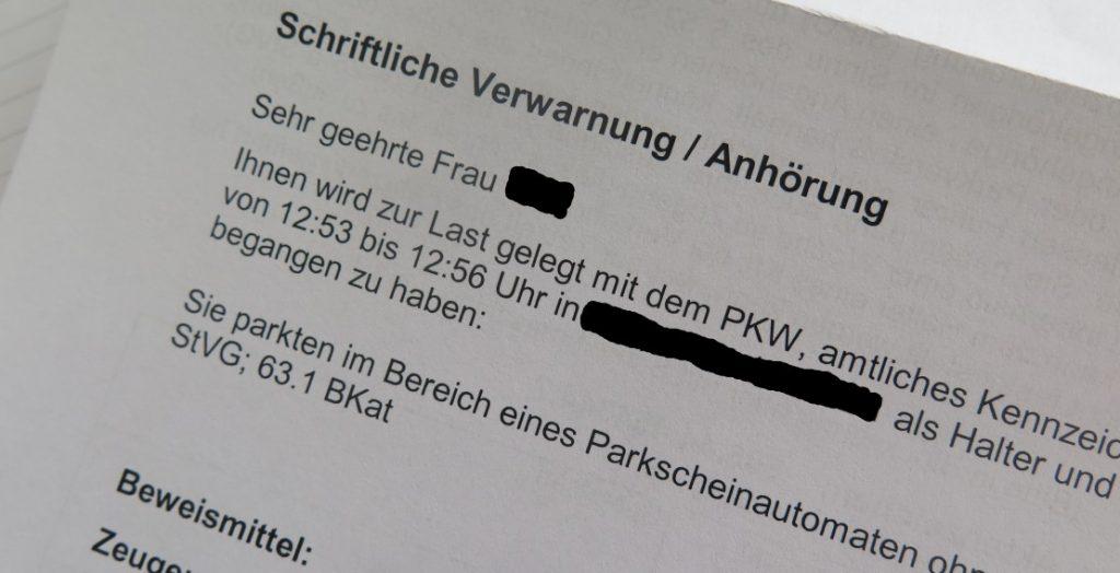 Schriftliche Verwarnung wegen Falschparkens (Quelle: Andreas Erb)