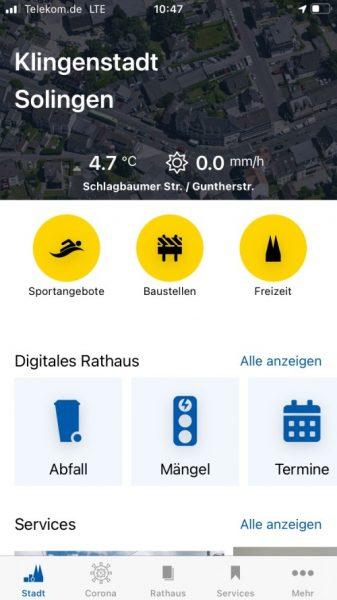 Schon über 20.000 Downloads: die Solingen-App (Quelle: Stadt Solingen/Screenshot)