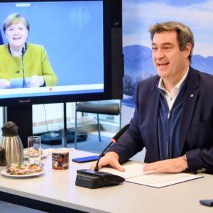 Videoschalte Merkel, Söder (Quelle: Bayerische Staatskanzlei)