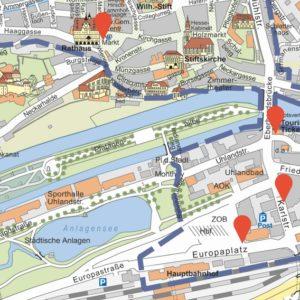 Tübingen Karte mit Teststationen (Ausschnitt). (Quelle: Stadt Tübingen)